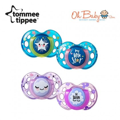 Tommee Tippee Night Time Slicone Soothers 18-36m (2pcs)