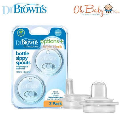 Dr Brown's Options + Wide Neck Bottle Sippy Spouts 100% Silicone ( 2pcs )
