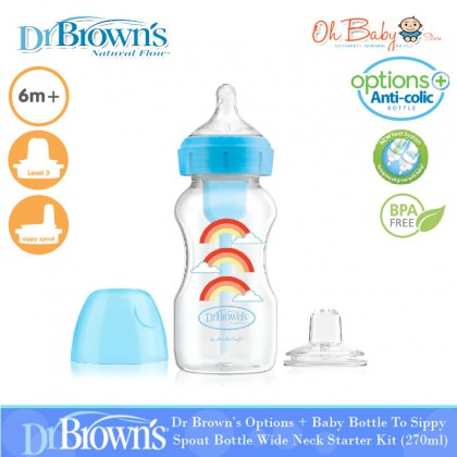 Dr Brown's Options + Baby Bottle To Sippy Spout Bottle Wide Neck Starter Kit (270ml)