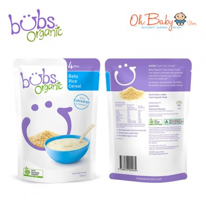 Bubs Organic Baby Rice Cereal for 4m+ (125g)