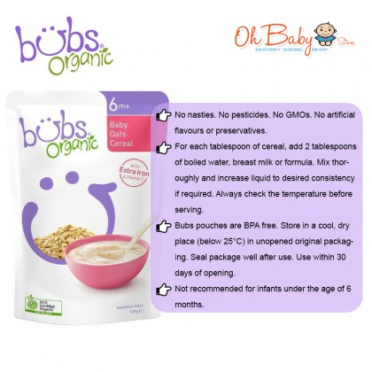 Bubs Organic Baby Oats Cereal for 6m+ (125g)