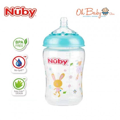 Nuby Natural Touch Printed Bottle With Silicone Nipple - 270ml/9oz
