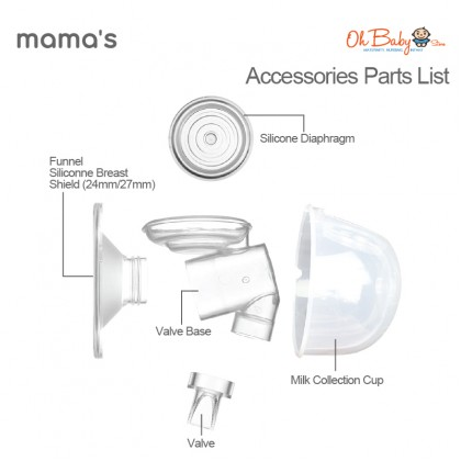 Mama's S5 Wearable Handsfree Breast Pump Accessories Parts List Set Cup(24mm/27mm)