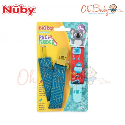 Nuby Fashion Printed Pacifier Clip Paci Finder 2pcs