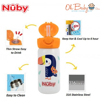Nuby 316 Stainless Steel Flip Top Straw Cup 300ml/10oz and FOC Straw Replacement