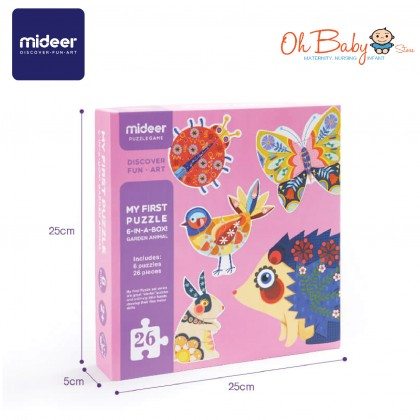 Mideer My First Puzzle Garden Animal 6 Puzzles 26pcs 2 years+