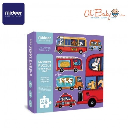 Mideer My First Puzzle Car Family 6 Puzzles 25pcs 2 years+