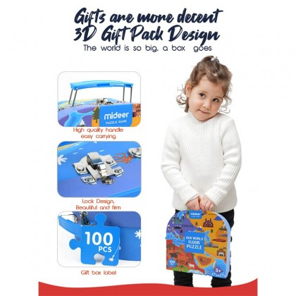 Mideer Gift Pack Puzzle Our World Floor 100 Pcs 3 years+