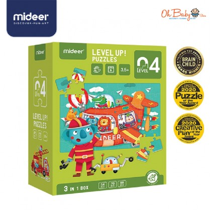 Mideer Evolution Advanced Puzzle Level 4 Fairy Tale Town / Transportation 3 in 1 Box 3.5 years+