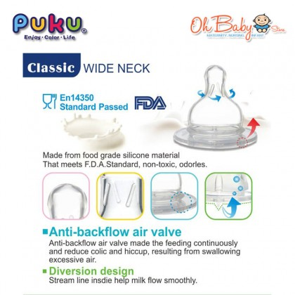 Puku Wide Neck Silicone Teat Cross Cut for 3M+