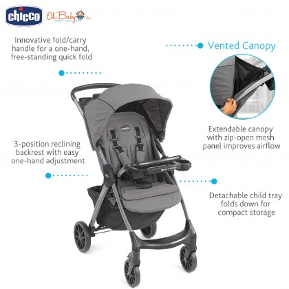 Chicco Mini Bravo Plus Travel System (Stroller + Keyfit 30 Infant Carrier Car Seat with Isofix Base)