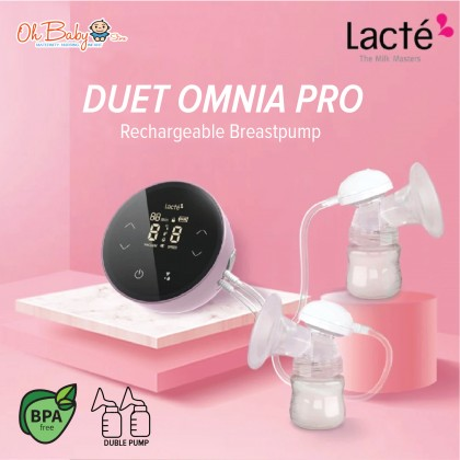 Lacte Duet Omnia Pro Rechargeable Electric Breast pump Package with Cimilre Hands Free Breast Shield