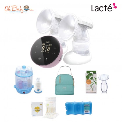 Lacte Duet Omnia Pro Rechargeable Electric Breast pump Extravaganza Package