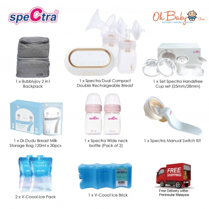 Spectra Dual Compact Double Rechargeable Breast Pump package with Spectra Handsfree Cup, Storage Bottle, Spectra Manual Switch Kit, Bubblyjoy Cooler Bag, Ice Brick, Ice Pack, Dr.Dudu Breast Milk Storage Bag - Oh Baby Store