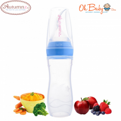 Autumnz Silicone Stand Neck Squeeze Food Feeder with Spoon 120ml
