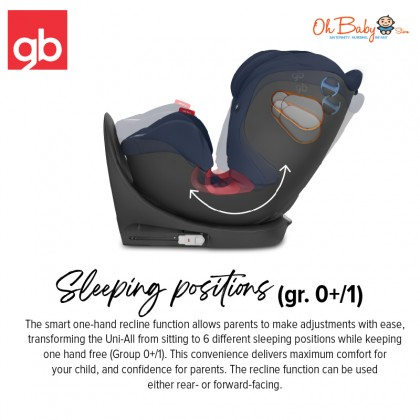 GB Uni-All Isofix Car Seat From birth to 36kg (Approx. 12 years old) - Oh Baby Store