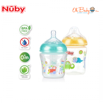 Nuby Natural Touch Printed Bottle With Silicone Nipple 180ml/6oz (Twinpack)