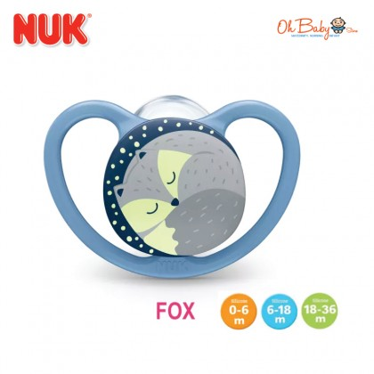 Nuk Space Night Glow In The Dark Silicone Soother 0-6/6-18/18-36m 1pc/pack  - Oh Baby Store