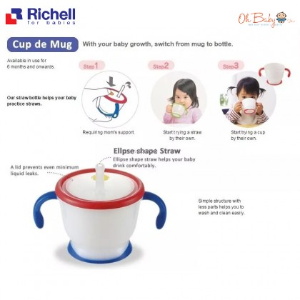 Richell AQ Straw Training Mug 150ml & Weaning Cup Set 6m+- Oh Baby Store