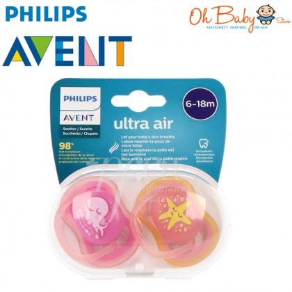 Philips Avent Ultra Air Soother 6-18m Whale & Stars Pink