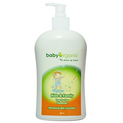 Baby Organix - Kids & Family Top To Toe Cleanser 400ml (Cucumber)