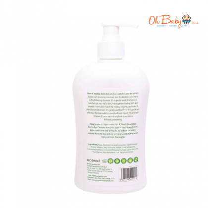 Baby Organix Kids & Family Top To Toe Cleanser 400ml (Peach)