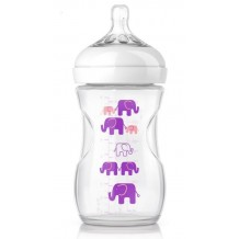 Avent - Natural Exclusive Elephant Design Bottle Pink & Purple 9oz / 260ml