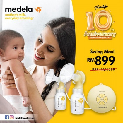 Medela Swing Maxi Double Electric Breast Pump FREE Calma Teat