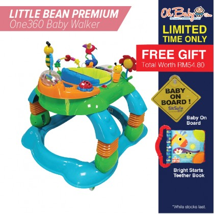 LITTLE BEAN PREMIUM One360 Baby Walker with Free Gift Baby On Board & Bright Starts Teether Book
