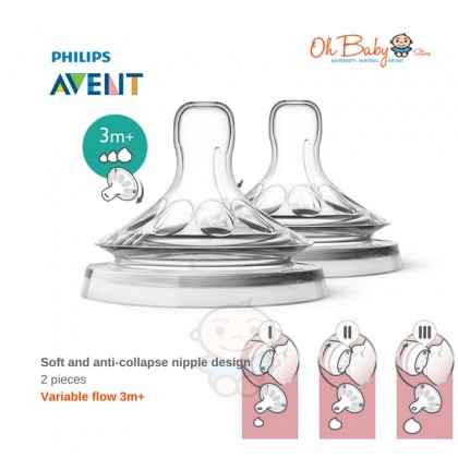 Avent Natural Teats 0m up to 9m+ (2pcs Pac)