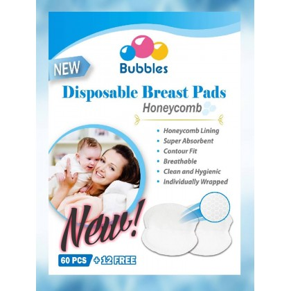Bubbles - Disposable Breast Pads Honeycomb 60+12pcs - BEST BUY
