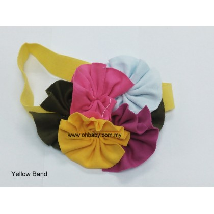 Headbands - Flowers on Yellow Band