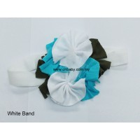 Headbands - Flowers on White Band
