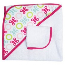 JJ Cole - Hooded Towel - Pink Butterfly