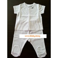 Mini Pod - Short Sleeve and Bootee Long Pant Set ( Jac White)