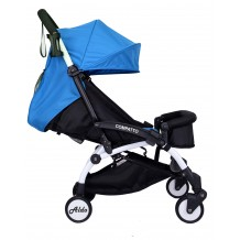 Aldo - Light Weight / Cabin Size Stroller Blue with Bumper Bar & Cup Holder