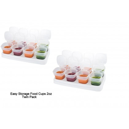 Autumnz Easy Baby Food Storage Cups 2oz White (Twin Pack)