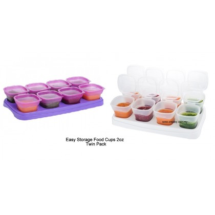 Autumnz Easy Baby Food Storage Cups 2oz (White and Purple)