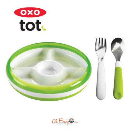 OXO Tot - Divided Plate + Fork and Spoon Set