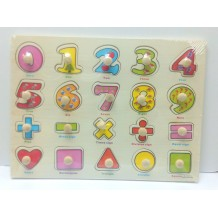Wooden Education Knob Puzzle - Mathematics