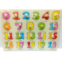 Wooden Education Knob Puzzle - Number 0-20
