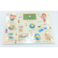 Wooden Education Knob Puzzle - All About School