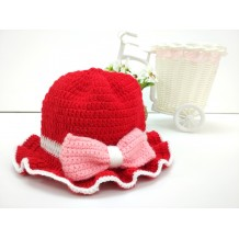 Handmade Crochet Baby Hat (Red Pink)