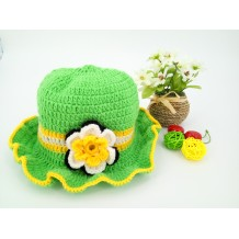 Handmade Crochet Baby Hat (White Green)