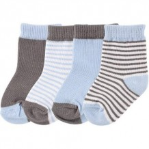 Luvable Friends - Boy Basic Sock 4pk (Light Blue)