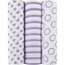Aden & Anais - Muslin Swadding 3pk (Purple)
