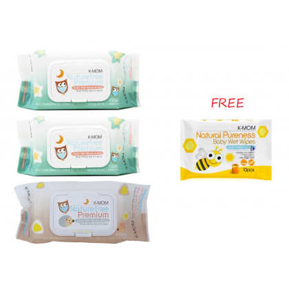 K Mom - Natural Pureness Wet Wipes Premium (100s x 3)