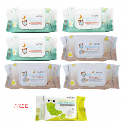K Mom - Natural Pureness Wet Wipes Premium (100s x 6)