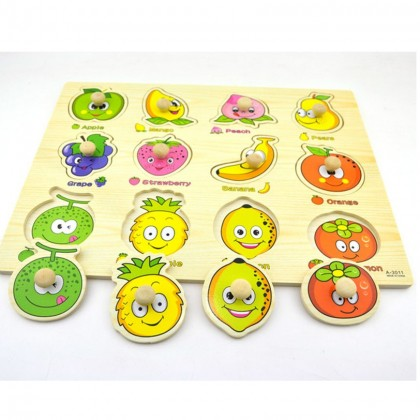 Wooden Education Knob Puzzle - Fruits