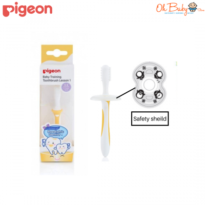 PIGEON Training Toothbrush Lesson 1 For (6-8 Months) Yellow